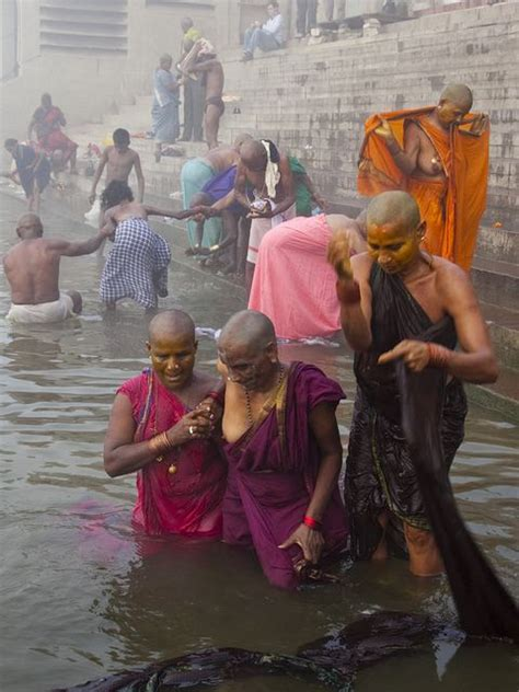 indian girl bathing in bathroom ganges river india varanasi and south india