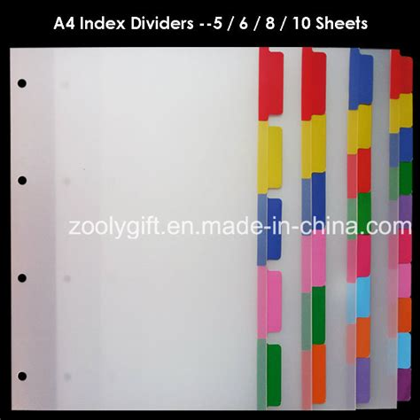 color dividers china a4 pp index file divider color index tab ring