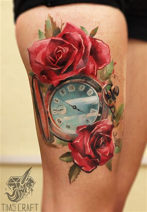 clock n roses thigh tattoo golfian com