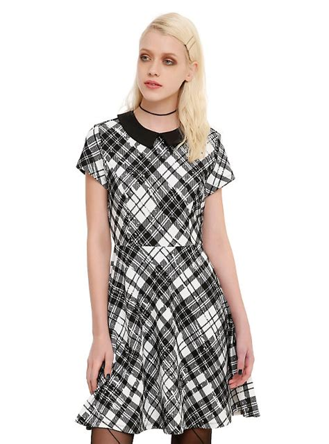 Black White Plaid Sleeved Collar Dress black white plaid collar dress topic