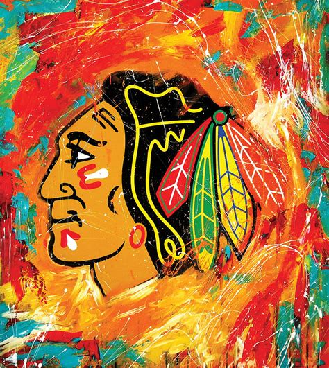 Sports Home Decor by Chicago Blackhawks Logo Painting By Elliott From