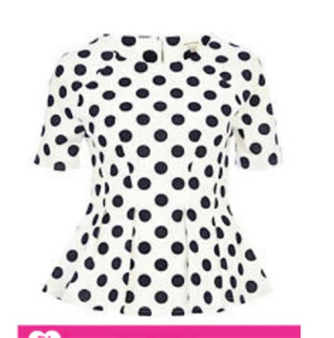 J910 Black shirt polka dots polka dot shirt peplum polka dot