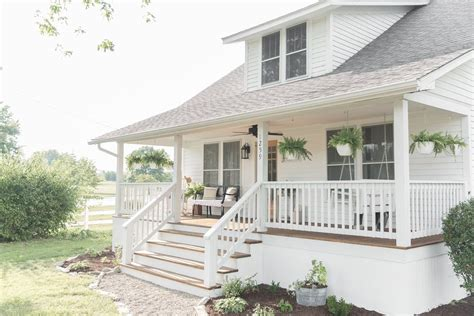 high small front porch farmhouse porch curb appeal makeover reveal farmhouse on boone