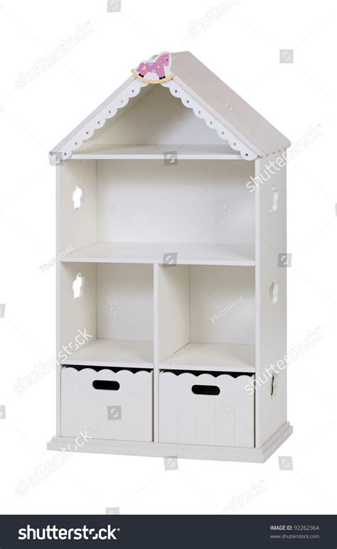 bookcase with cabinet shaped as house stock photo