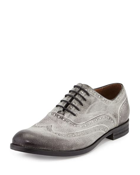 varvatos shoes varvatos sid brushed leather wing tip shoe in gray