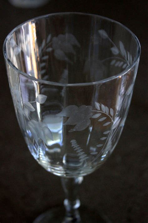 Set Of 4 Vintage Etched Wine Glasses From Umbrellafant