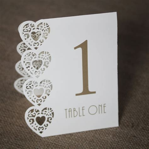 Ivory Wedding Table Numbers 1 15 Laser Heart Design   eBay