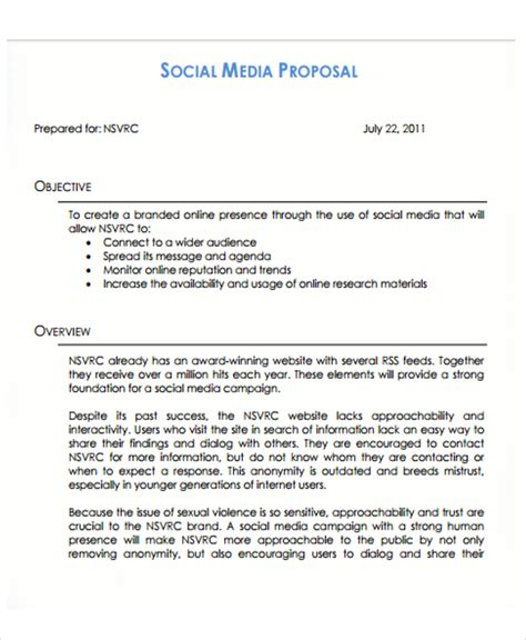 10 Social Media Proposal Templates Free Sle Exle Format Download Free Premium Templates Social Media Management Template