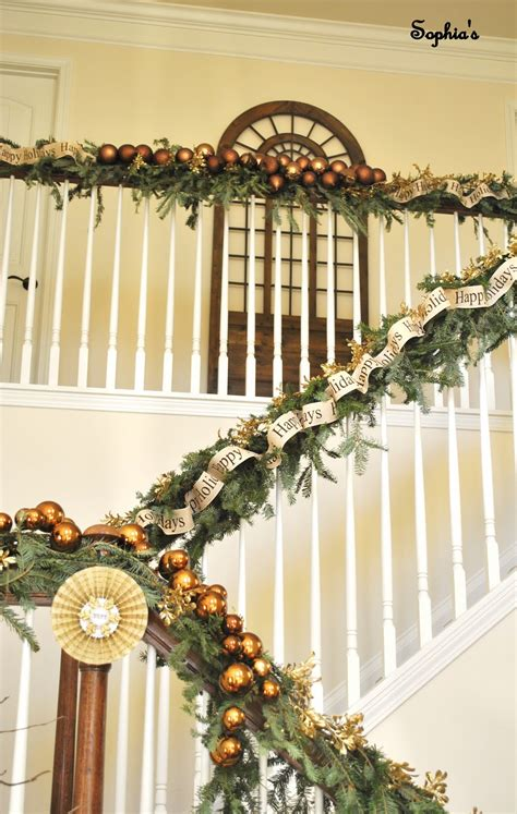 banister garland ideas sophia s christmas stairs