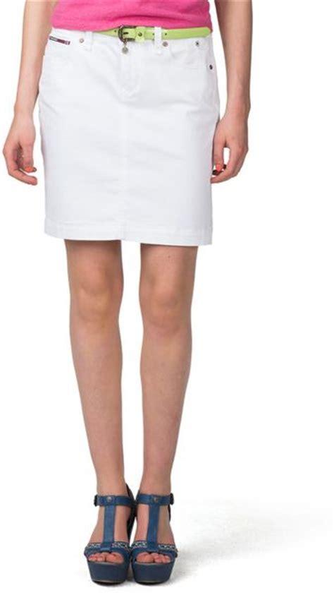 hilfiger suzzy denim skirt in white houston white