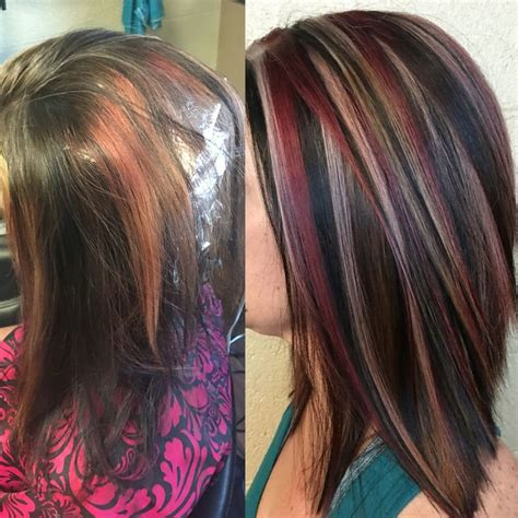 pictures of sapphire black hair with red highlights 25 best ideas about violet highlights on pinterest plum