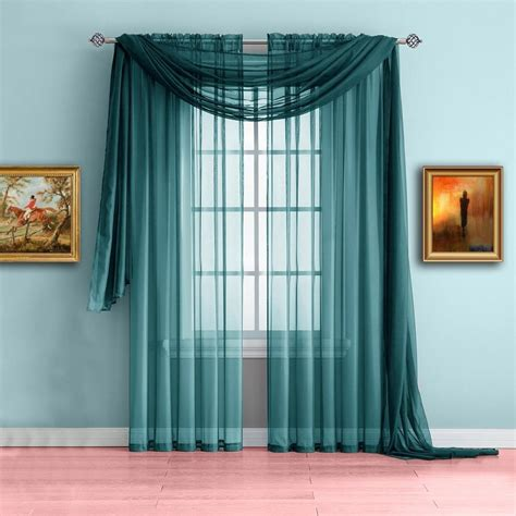 warm home designs blue teal window scarf valance sheer