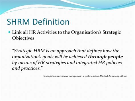 Definition Of Mba In Hr by Strategic Human Resource Management Shrm Mba 423 Human