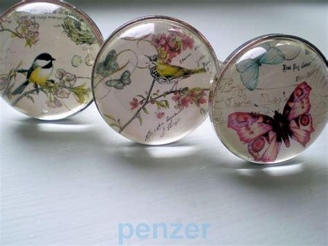 Butterfly Door Knobs by Vtg Glass Door Knobs Nature Bird Butterfly Dragonfly Cabinet Drawer Pull Handles Ebay