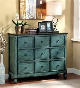 furniture of america antique teal vinia 3 drawer dresser