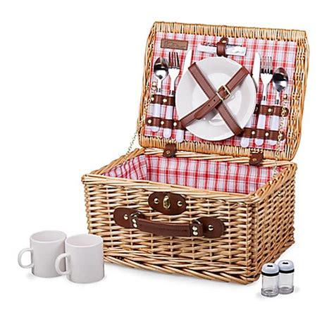 bed bath and beyond baskets picnic time 174 catalina plaid picnic basket www