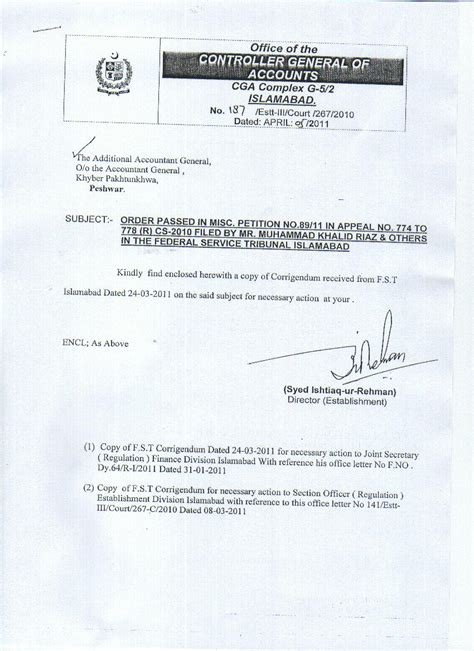 Finance Division Letter Stenos Upgradation Cga Letter To Establishment And Finance Division