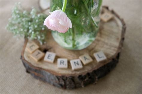 tree stump rustic wedding centerpiece with scrabble