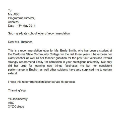 Letter Of Recommendation Template For Student exle of a reference letter for student