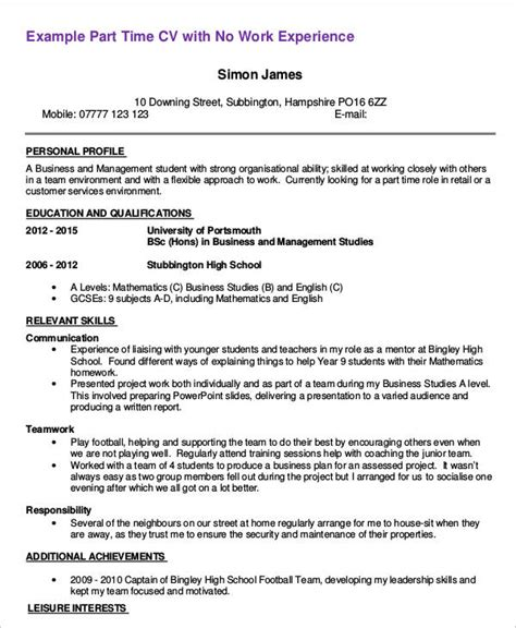 Template For Time Resume by Cv Template Uk Part Time Student Image Collections