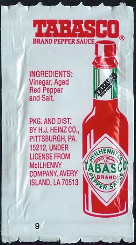 Condiment Packet Gallery by Tabasco Sauce