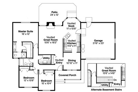 Ranch House Floor Plan by Ranch House Plans Rigdon 30 090 Associated Designs