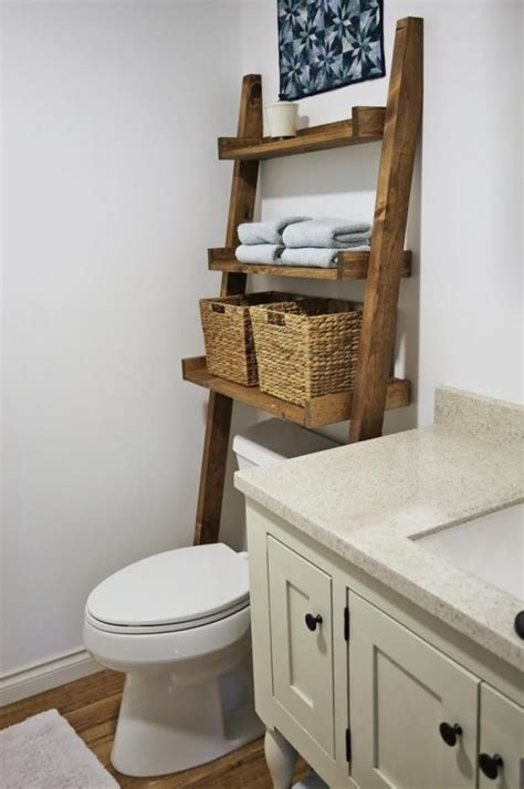 Bathroom Ladder Shelf White White Build A Leaning Bathroom Ladder Toilet Shelf Free And Easy Diy Project And