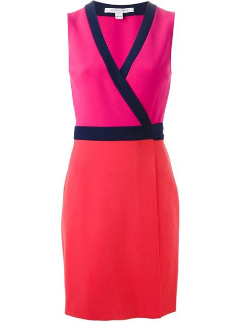 Shopping Colour Block Scarf Dress by Diane Furstenberg Color Block Wrap Dress In Pink Pink