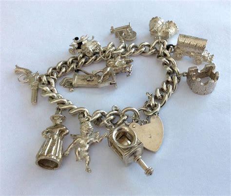 antique charm bracelets for fabulous antique vintage solid silver charm
