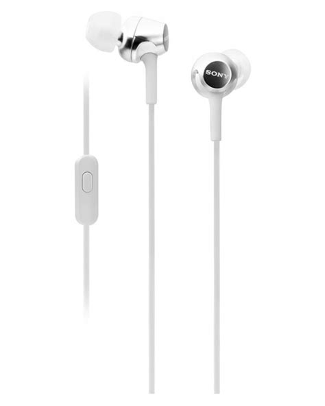 In Ear Headphone With Mic White sony mdr ex255ap in ear headphones with mic white