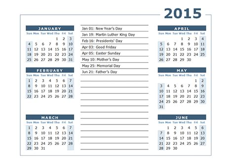 2015 printable yearly calendar with us holidays 2015 yearly calendar two page 02 free printable templates
