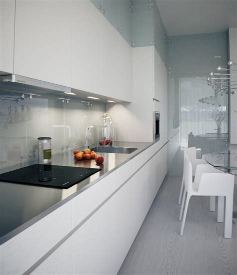 narrow kitchen ideas lysak visualization sleek narrow kitchen in white with reflective splash interior