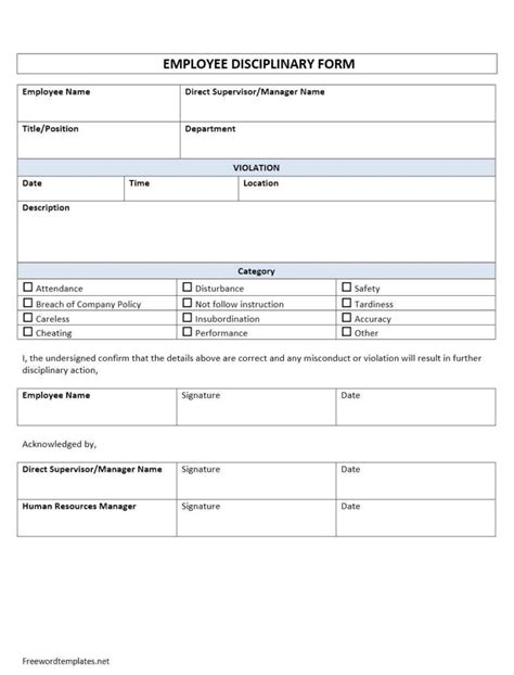 employee discipline form template employee disciplinary form
