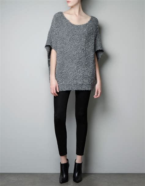 zara knit sweater zara boucle knit mohair sweater in gray grey lyst