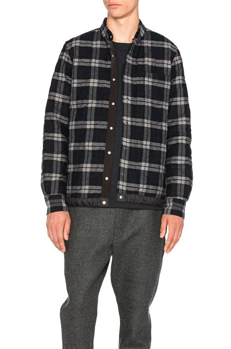 Plaid Shirt Jacket lyst sacai plaid quilted shirt jacket in black
