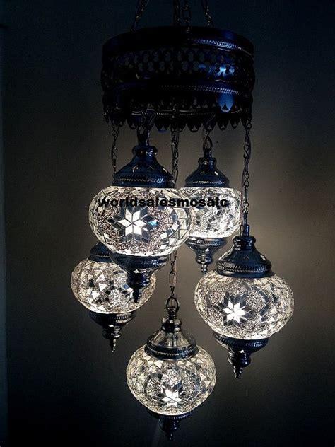 Turkish L Chandelier 5 Chrome Turkish Moroccan Hanging Glass Mosaic Chandelier L L