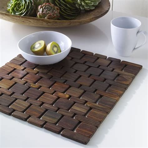 wood tile placemat set west elm