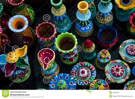 beautifully designed colourful clay pots stock photo image 41602816