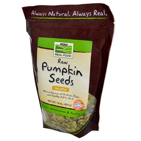 Organic Pumpkinseed now foods real food pumpkin seeds unsalted 16 oz