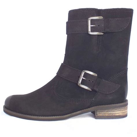 black boots gabor boots mid calf boot in black nubuck