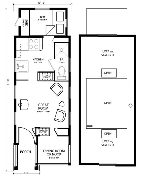 the colvin tiny house floor plan by four lights