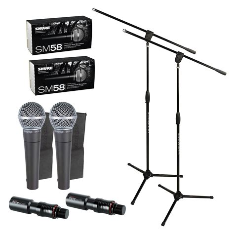 Stand Microphone Vocal shure sm58 vocal mic with pro stand attachment duo pack