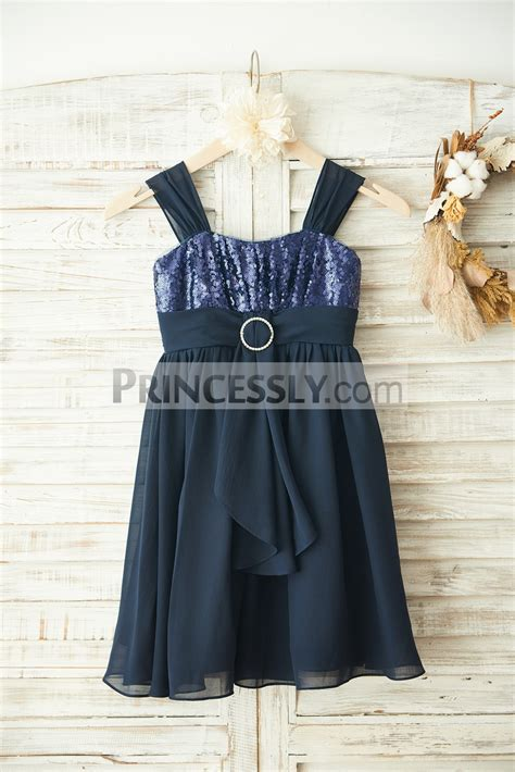 Boho Navy boho navy blue sequins chiffon overlay flower dress