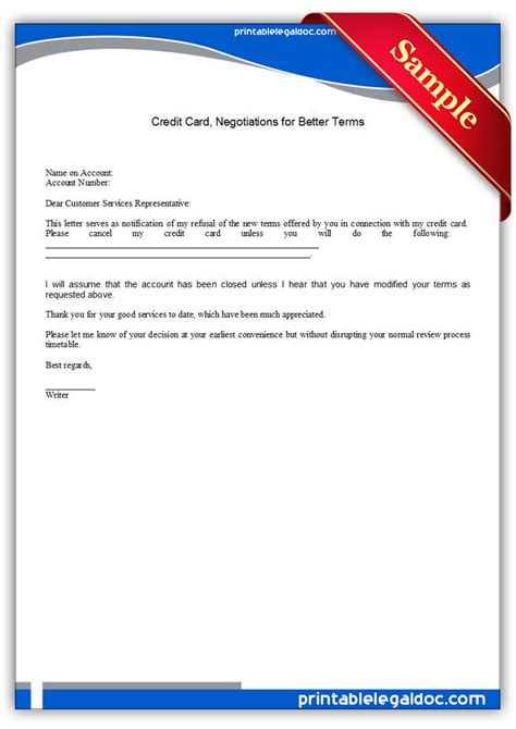 Credit Card Negotiation Letter Free Printable Credit Card Negotiations For Better Terms Form Generic