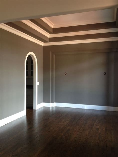 gray walls white trim sherwin williams gauntlet gray walls with white trim and jacobean stained oak floors