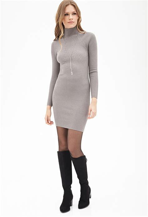 High Neck Sweter N forever 21 ribbed high neck sweater dress in gray lyst