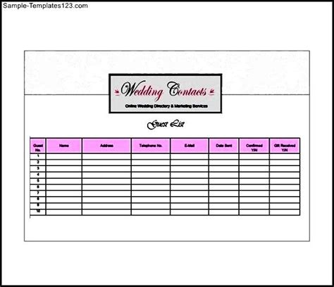 best wedding guest list template sle wedding guest list template best free home