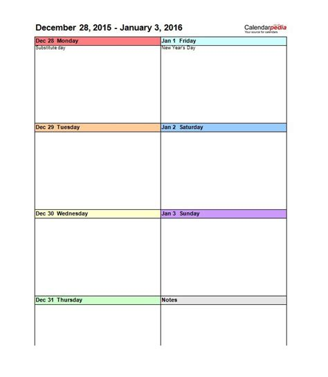 blank weekly calendar template word
