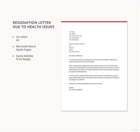 resignation letter due to illness uk 8 personal reasons resignation letter templates pdf