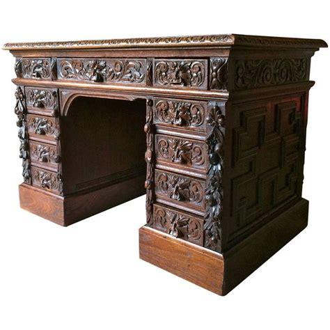 Antique Desk Solid Oak Green Man Heavily Carved Victorian Vintage Desk